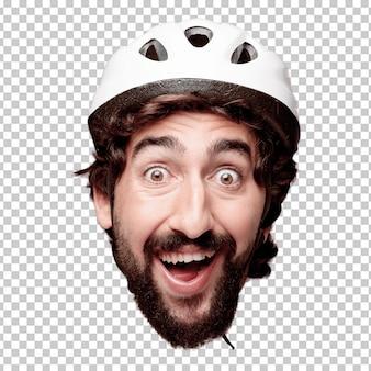 Expression de tête de jeune homme fou barbu isolé. rôle cycliste. concept surpris