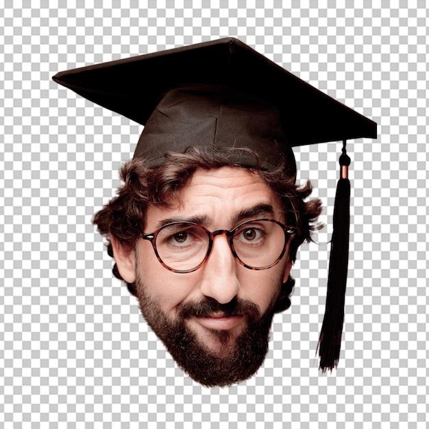Expression de tête de jeune homme fou barbu isolé. rôle de diplômé