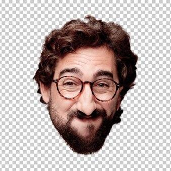 Expression de tête de jeune homme fou barbu isolé. rôle de hipster avec des lunettes de vue. pose heureuse