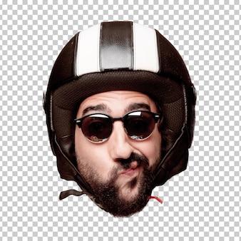 Expression de tête de jeune homme fou barbu isolé. rôle de motocycliste. concept de pensée