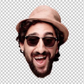 Expression de tête de jeune homme fou barbu isolé. rôle touristique pose heureuse