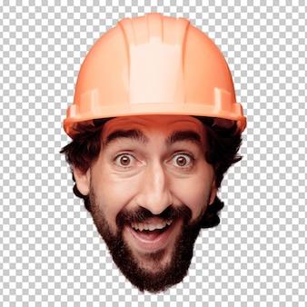 Expression de tête de jeune homme fou barbu isolé. rôle de travailleur construit. concept surpris