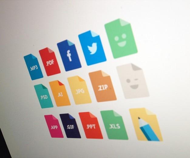 Extensions colorées icônes psd