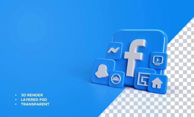 Facebook 3d avec icône dans l'application facebook