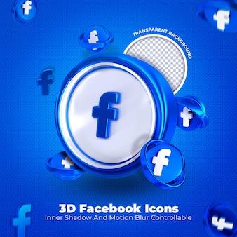 Facebook 3d icône médias sociaux sur fond transparent