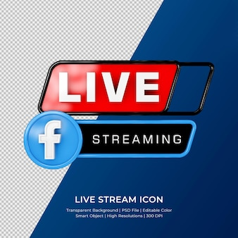 Facebook live streaming 3d render icône insigne isolé
