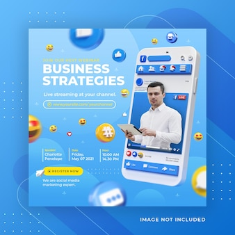 Facebook live streaming business workshop modèle de post instagram sur les médias sociaux