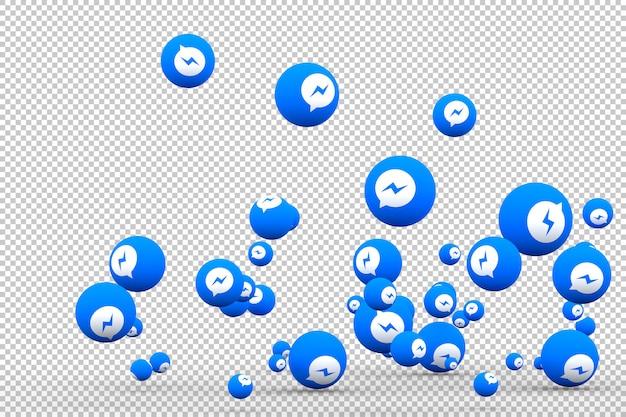 Facebook messenger icône sur l'écran du smartphone ou du mobile et les réactions de facebook messenger aiment le rendu 3d