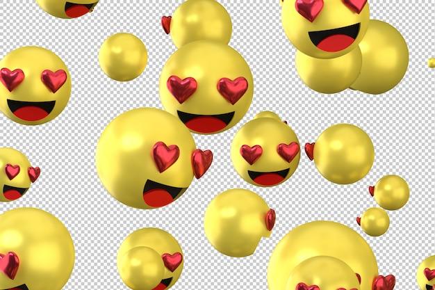 Facebook reactions love emoji 3d render symbole de ballon de médias sociaux avec coeur