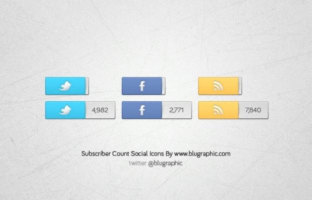 Facebook, twitter rss icônes comptage