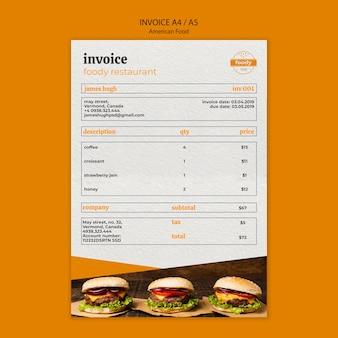 Facture combinée fast-food et frites américaines