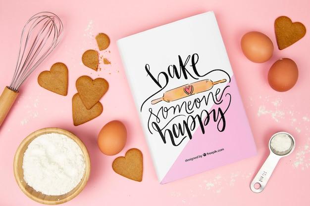 Faire cuire un livre heureux avec des coeurs en pain d'épice