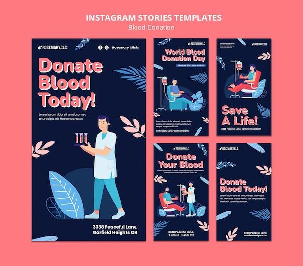 Faire un don de sang modèle d'histoires instagram