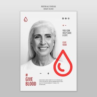 Faire un don de style de modèle de flyer de sang