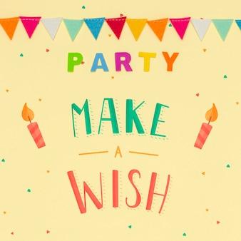 Faire un vœu sur le concept de fête d'anniversaire