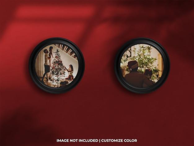Famille de galerie de photos de cadre de cercle et célébration pour la maquette de noël