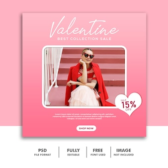 Fashion girl valentine bannière social media post instagram luxury pink