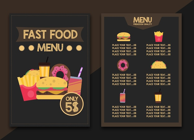 Fast food restaurant menu vintage