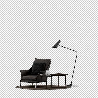Fauteuil isométrique rendu 3d avec table et lampadaire isolé