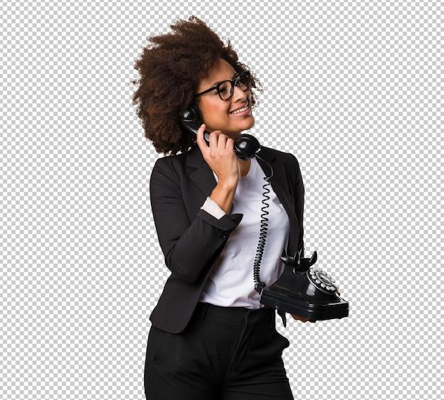 Femme affaires, noir, conversation téléphone