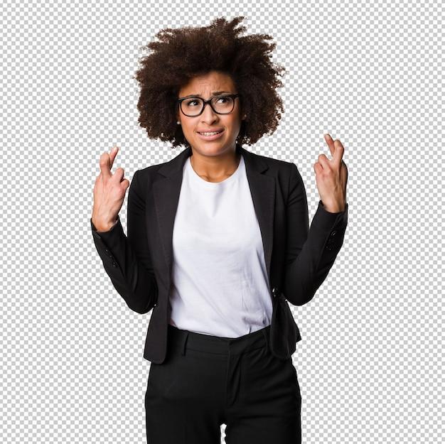 Femme affaires, noir, croisement, elle, doigts