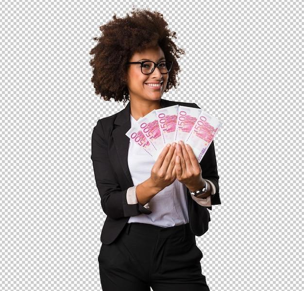 Femme affaires, noir, tenue, factures