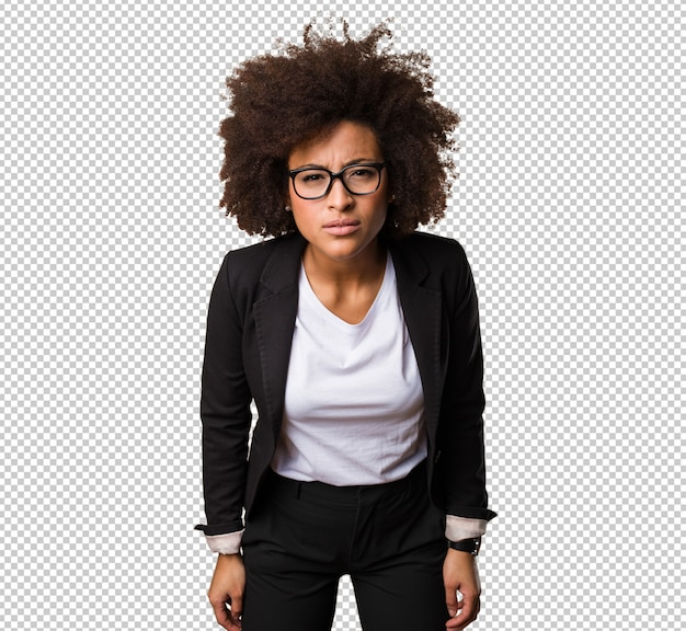Femme d'affaires noire concentrée