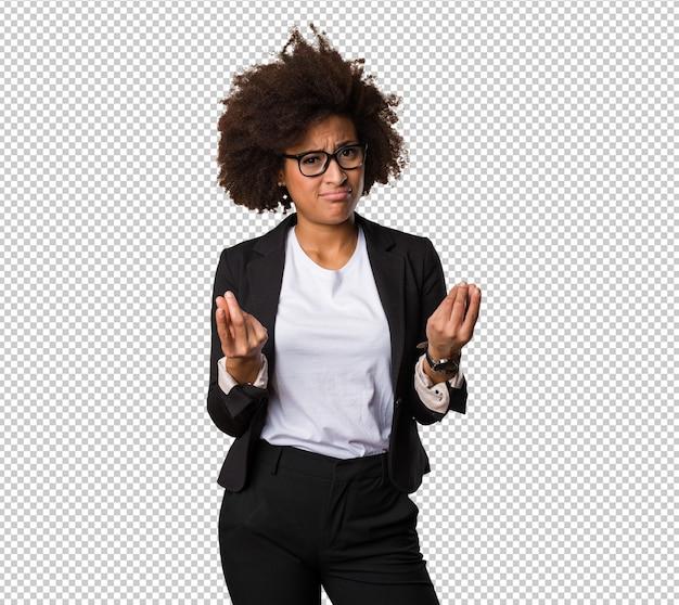 Femme d'affaires noire faisant un mauvais geste