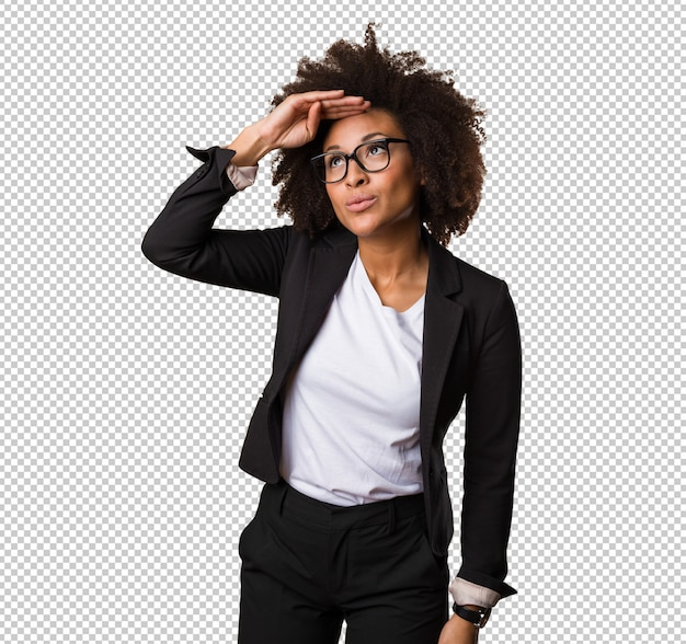 Femme d'affaires noire à la recherche-loin