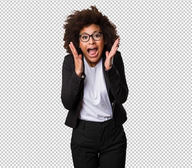 Femme d'affaires noire surprise