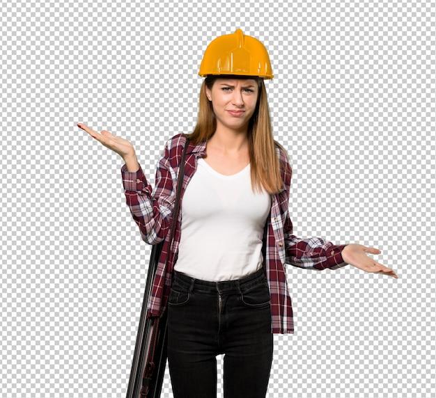 Femme architecte malheureuse car ne pas comprendre quelque chose