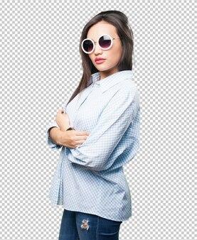Femme asiatique, croisement, bras
