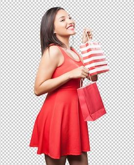 Femme asiatique, à, sacs provisions