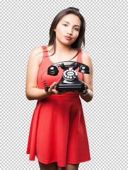 Femme asiatique, tenir téléphone
