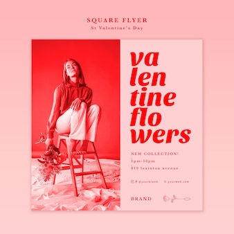Femme assise sur une chaise flyer carré de la saint-valentin
