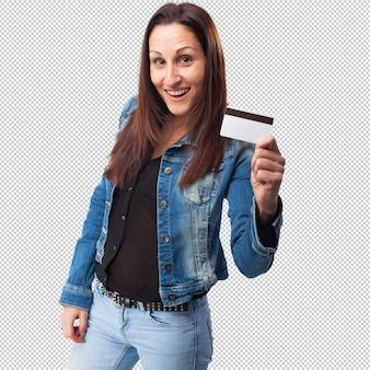 Femme avec carte de crédit