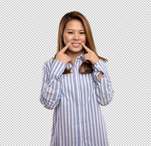 Femme chinoise, pointage, elle, bouche