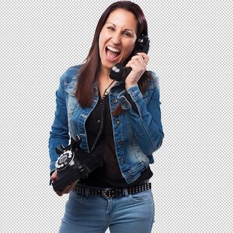 Femme, conversation téléphone