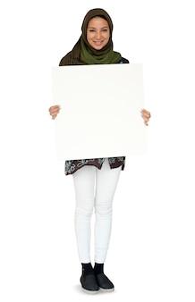 Femme, debout, et, tenue, bannière