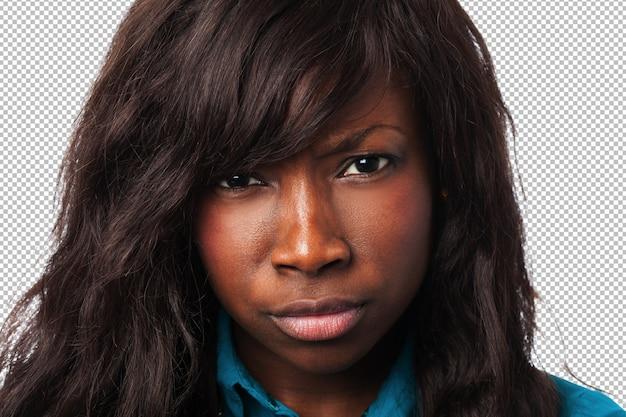 Femme noire en colère closeup