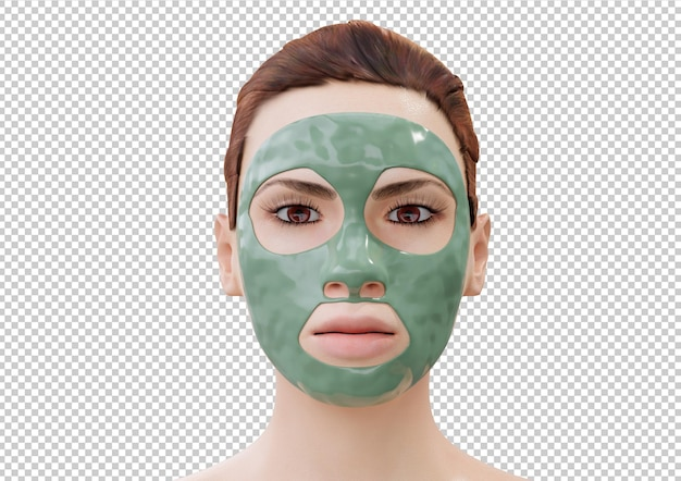 Femme relaxante avec masque facial de boue isolé sur fond blanc. rendu 3d