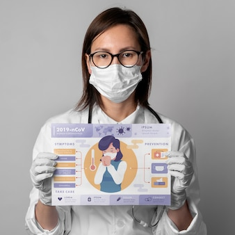 Femme, tenue, coronavirus, affiche, maquette
