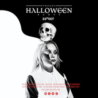 Femme, tenue, crâne, tête, halloween, noir, blanc