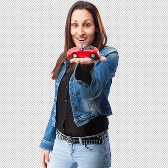 Femme avec une voiture rouge