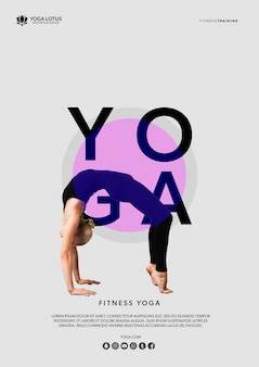 Femme, yoga, pont, position