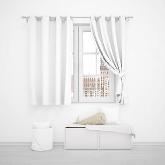 Fenêtre avec rideaux blancs et mobilier minimaliste