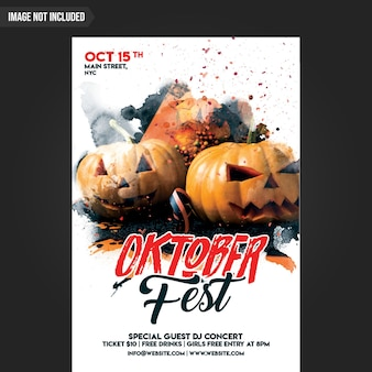 Fête de la fête de l'oktober flyer psd template