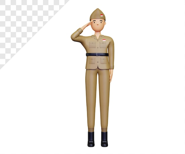 Fête de l'indépendance de l'indonésie 3d avec des personnages de l'armée posant le respect
