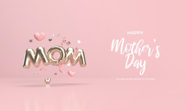 Fête des mères avec maman d'or écrit en rendu 3d