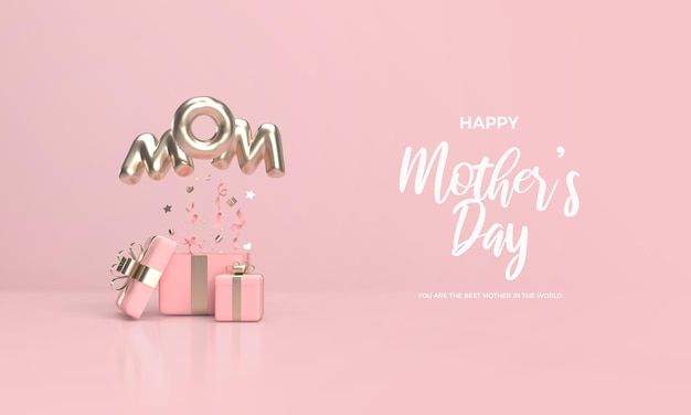 Fête des mères moderne avec boîte-cadeau rose et lettrage en or